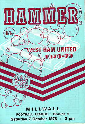 1978/79 West Ham United v Millwall, Division 2, PERFECT CONDITION
