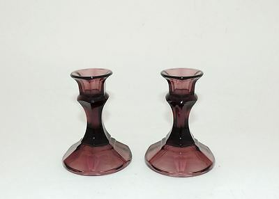 Vintage Amethyst Purple Depression Glass Pair of Candle Holders Mid Century MCM