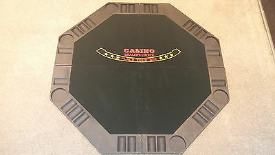 Poker Set - Folding Table Top, Chips, Cards and Dice In Metal Case Unused