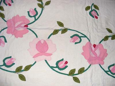 """BEAUTY 1940s Hand Quilted Embroidered PINK FLOWERS Roses Vintage QUILT 89"""" x 77"""""""