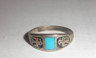 Vintage old pawn Navajo Thunderbird sterling silver turquoise  ring size 6.5