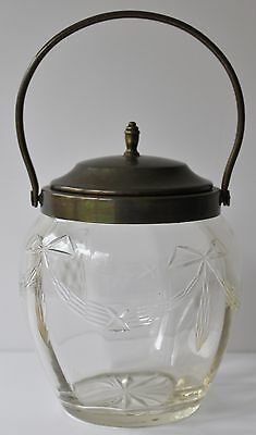 Vintage BISCUIT BARREL Cut Glass gold brass tone trim SWAG BOW Lid Handle