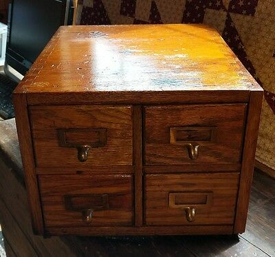 Gorgeous Dovetail Vintage Heavy Wood Oak 4 Drawer File Card Cabinet