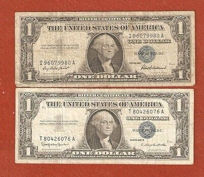 2 1957 United States Silver Certificate One Dollar Bank Notes Circulated L495