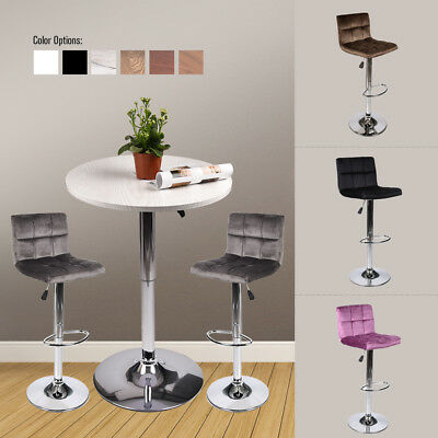 3 Pieces Bar Table Stools Set Adjutable Wood Top Swivel Dining Chair Pub Kitchen