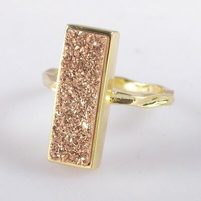 Size 5.75 Natural Agate Titanium Druzy Bezel Ring Gold Plated B040887
