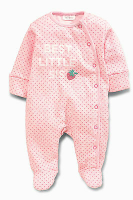 ВNWT NEXT • Embroidered Pink Sister Strawberry Sleepsuit • 100% cotton • 0-3 Mon