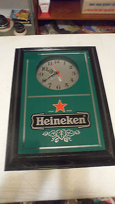 Beautiful Rare Heineken Beer  Framed Mirrored Wall Clock Sign Only One On Ebay