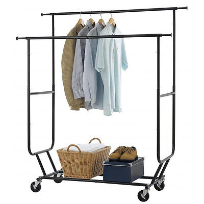 Commercial Double Rail Clothing Garment Rolling Collapsible Rack Hanger Black