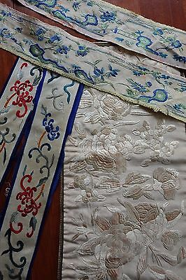 5 Antique Silk Chinese Hand Embroidered Robe Pieces - Robe Panel & Cuffs Borders
