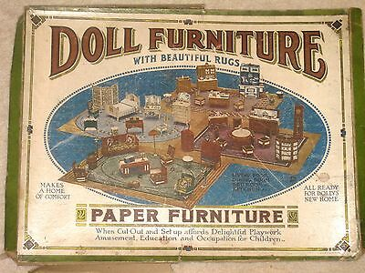 Vintage Miniature Paper Doll House  Furniture, 4 Rugs, Circa 1910-1920, BR, DR
