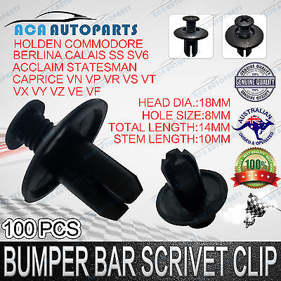 100 8mm Plastic Car Screw Scrivet Interior Trim Panel Clips For HOLDEN COMMODORE