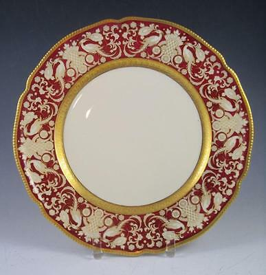 Antique Rosenthal Selb Germany Gilded Porcelain Dinner Plates (Red) Lot of Two