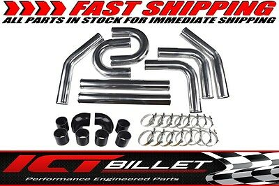 """YJ - 2.5"""" Universal Aluminum Intercooler Pipe Kit Polished Hose w/ Clamps"""