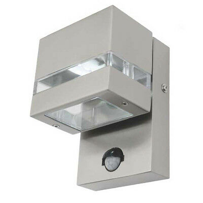 NEW Mercator Hedland LED 316 Stainless Steel Outdoor Wall Light With Sensor - MX