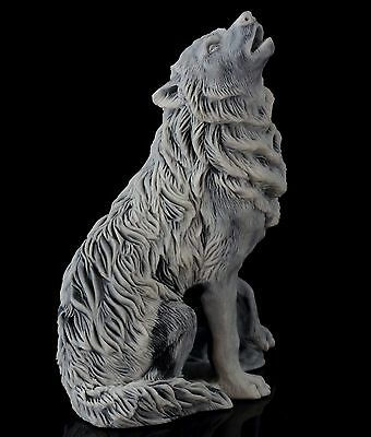 Wolf Howling at the Moon Marble Figurine Russian Stone Art Animal Statue 4""