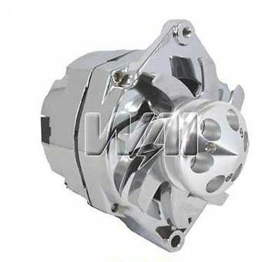 100% New Chrome Alternator For Gm Bbc Sbc Hotrod 3 Wire Billet Pulley Fan 110Amp
