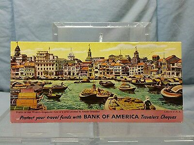 Vintage Advertising Ink Blotter: BANK OF AMERICA TRAVELERS CHEQUES