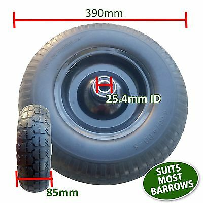 """16"""" Solid Rubber Wheel Barrow Cart Tyre Solid Flat Free Tire 25.4mm Bore 390mm"""