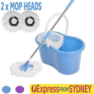 360 Degree Spinning Mop Dry Bucket with 2 Mop Heads Floor Kitchen Living Room AU