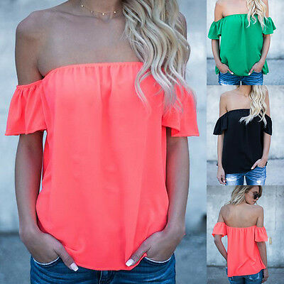 US Women Off Shoulder Short Sleeve Fashion Shirt Casual Blouse Top Loose T-shirt