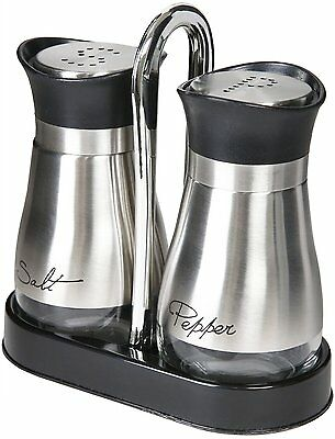 Salt and Pepper Shakers Set - High Grade Stainless Steel with Glass Bottom and