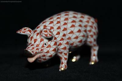 OFFER Superb Herend Porcelain PIG red blue fishnet china figure