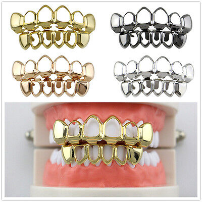 1 Set Open Face Custom Fit Grills Gold Silver Top Bottom Hip Hop Teeth Grillz