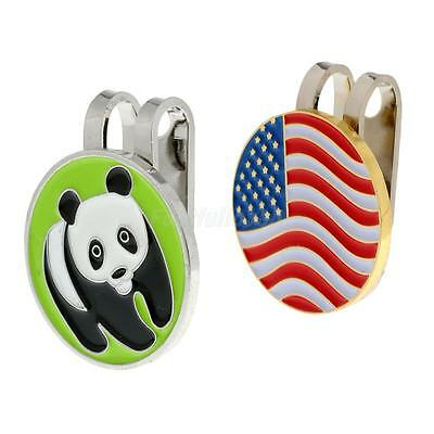 2 Pieces Metal Magnetic Golf Ball Marker with Hat Clip Golfer Accessories