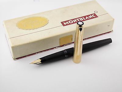"Vintage ""Montblanc 224"" Fountain Pen-Matt Gold Plated Cap-14K Nib-Germany 1970s"