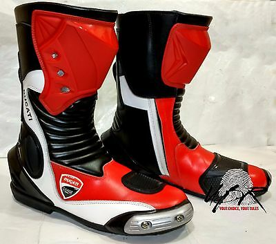 Ducati Corse Motorbike Boots MotoGP Motorcycle Racing Shoes Riding Leather New
