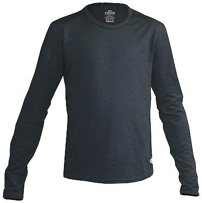 Hot Chillys Youth Midweight Banded Crew Black, Medium