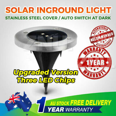 6x solar Inground Lights Round LED Deck Light Outdoor Waterproof Recessed Lamp