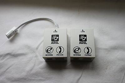 TWO ADSL Micro Filter Telephone Phone Microfilter