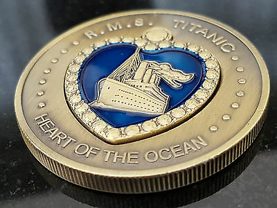 TITANIC Heart of the Ocean Coin Bronze Enamel Medal Blue Enamel LARGE Ship RMS