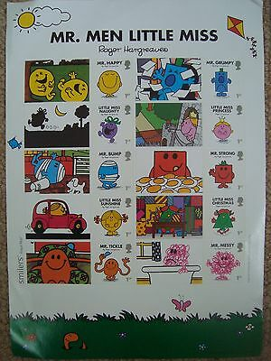sheet of mint Mr Men & Little Miss stamps 10 x 1st class, could be framed.