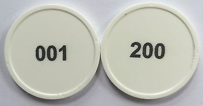 White Plastic Tokens 29Mm Numbered 001-200 In Black Print - Cloakroom, Raffle