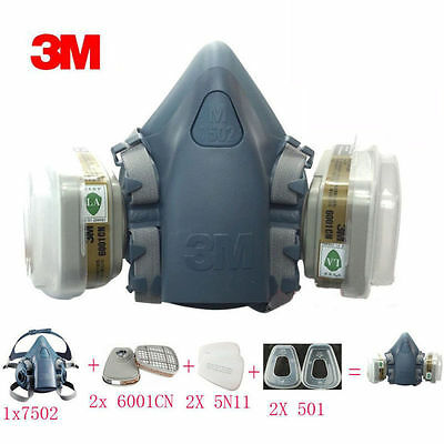 3M 7502 7Pcs set Respirator Painting Spray Gas Mask Dust Mark suit ABC