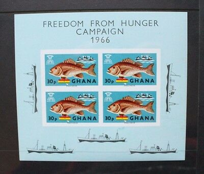 GHANA 1966 WHO Freedom from Hunger Fish SOUVENIR SHEET Mint Never Hinged SGMS425