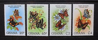 GHANA 1982 Butterflies. Set of 4. Mint Never Hinged. SG986/989.