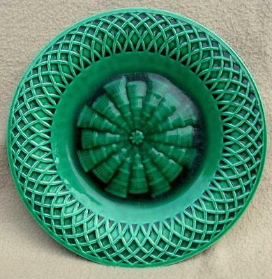 Antique Victorian English Minton Majolica Basket Weave Plate