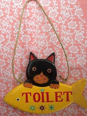 hand carved painted wooden Cat toilet sign guest room hotel cafe resturant bar
