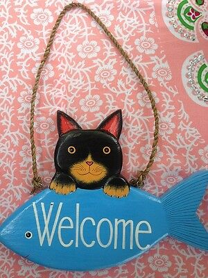 hand carved wooden Cat welcome sign entrance kids room gift for cat lover