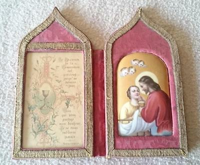"Antique Continental Kpm Paris Italian Porcelain Plaque ""first Communion"" Christ"