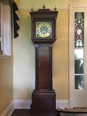 Antique 18th century oak , crossbanded in mahogany longcase or grandfather clock