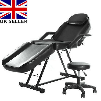 Black Beauty Salon Chair Massage Table Treatment Tattoo Therapy Couch Bed Stool