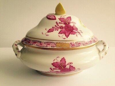 Unique Herend Hungary Miniature Tureen- Chinese Bouquet Raspberry/Gold Flowers