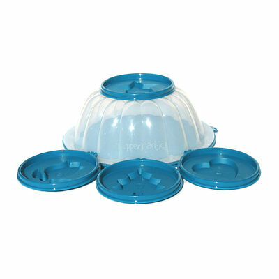 Tupperware NEW Small Jel Jelly Round Mould with Inserts B2B Teal Clear