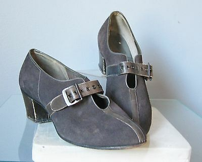 Vintage 1940s Grey Suede Shoes pumps Size 6.5