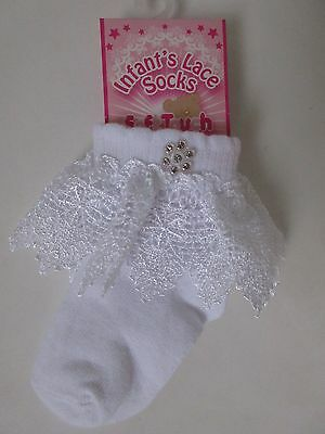 Baby Girls White Socks Lace Frill Cotton Rich Toddler. Diamante. Christening.